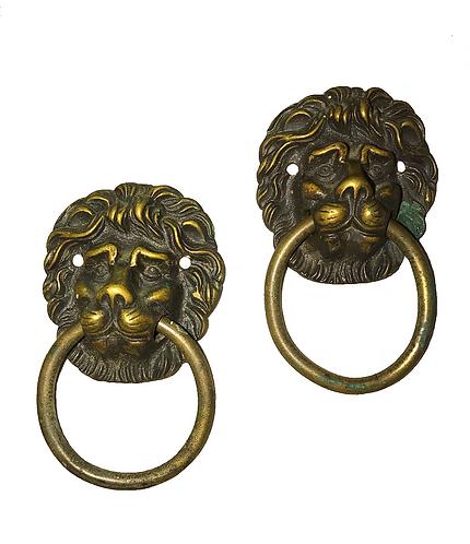 Solid Brass Vintage Lion Head Pulls