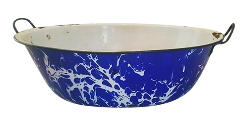 Vintage Graniteware Serving Bowl with Handles