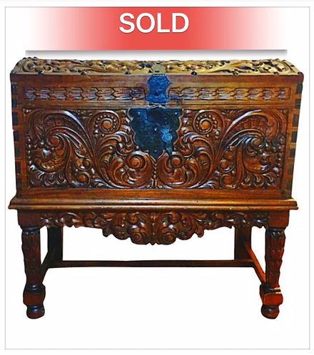 Vintage Spanish Carved Chest with Pedestal