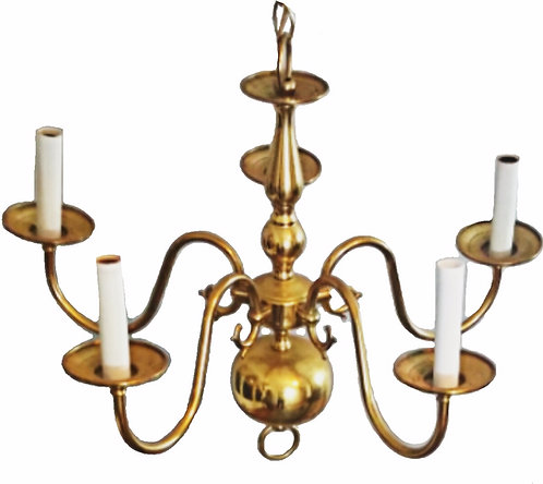 Vintage Solid Brass Chandelier (Made in Spain)
