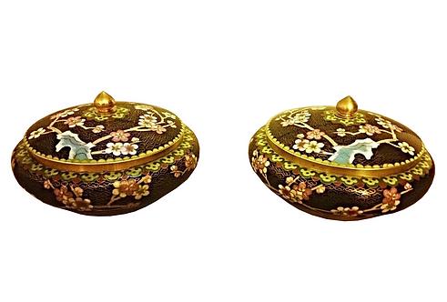 Asian Cloisonne Brass & Enamel Lidded Bowls- Pair