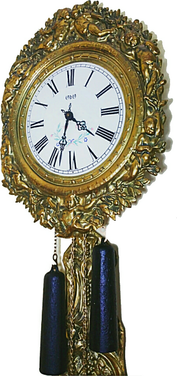 Vintage French Wag on Wall Repousse Brass Clock
