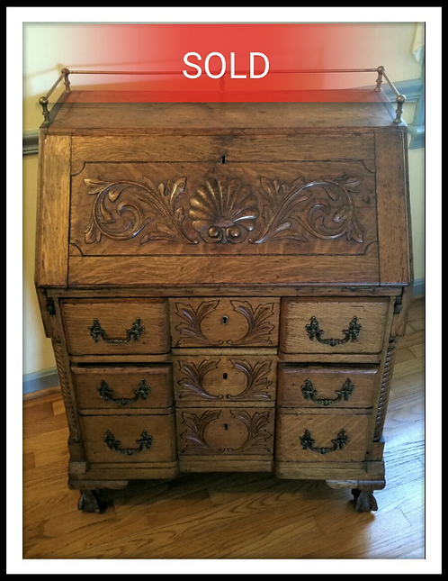 Antique Slant Drop Oak Carved Secretary Desk