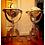 Thumbnail: Mosaic Inlaid Brass Floor Globes; Matching Pair