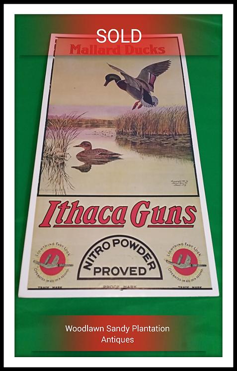 Vintage Ithaca Guns Mallard Duck Advertising Sign