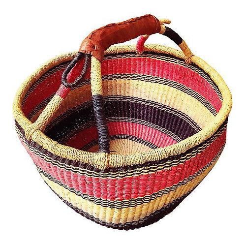 Vintage Large Leather Handled Bolga Basket