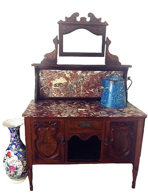 1900s Edwardian Burl Walnut & Marble Washstand with Storage