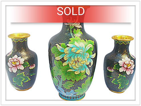 Vintage Cloisonne Vase 3 Piece Set (Brass/Enamel)