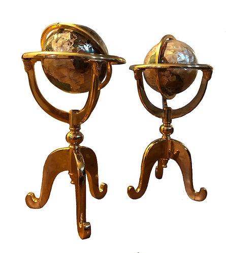 Mosaic Inlaid Brass Floor Globes; Matching Pair