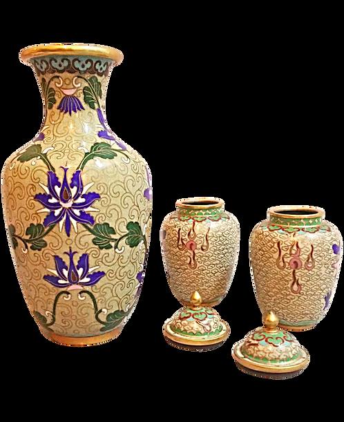 Vintage Cloisonne Vase Set of Three