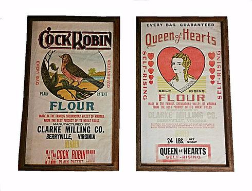 Queen of Hearts & Cock Robin Framed Flour Sacks