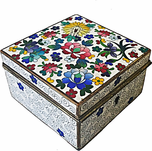 Vintage Cloisonne Enameled Floral Jewelry Box