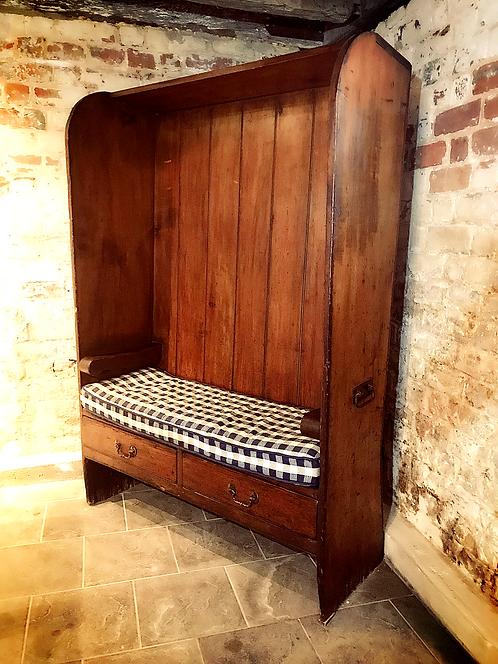 1800s English High Back Tavern Settle Bench