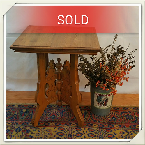 Antique Oak Carved Square Table (Claw Legs)