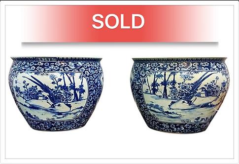 Antique Chinese Ceramic Floor Planters (1850-1880)
