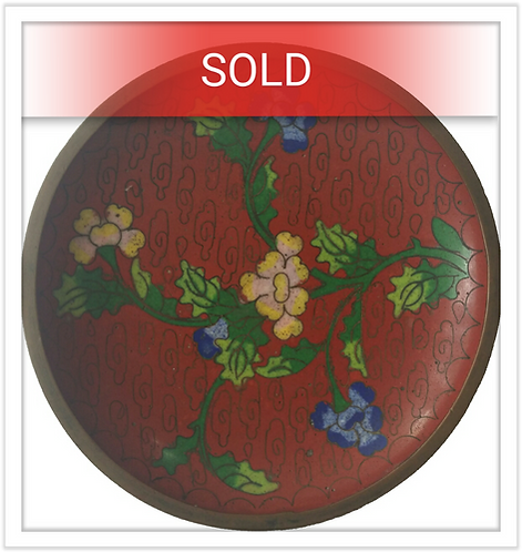 Vintage Chinese Cloisonne Floral Enameled Plate