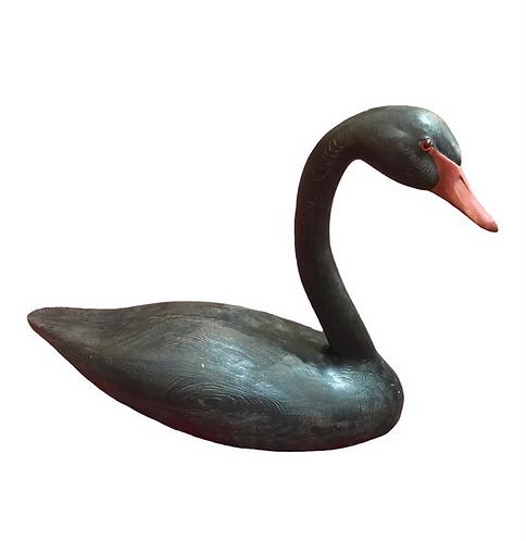 1980s Dann Sears Hollow Wooden Black Swan