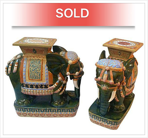 Vintage Vietnamese Porcelain Garden Stools- Pair