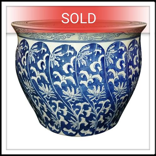 Large Ceramic Asian Tree Planter/ Pot (Blue/White)