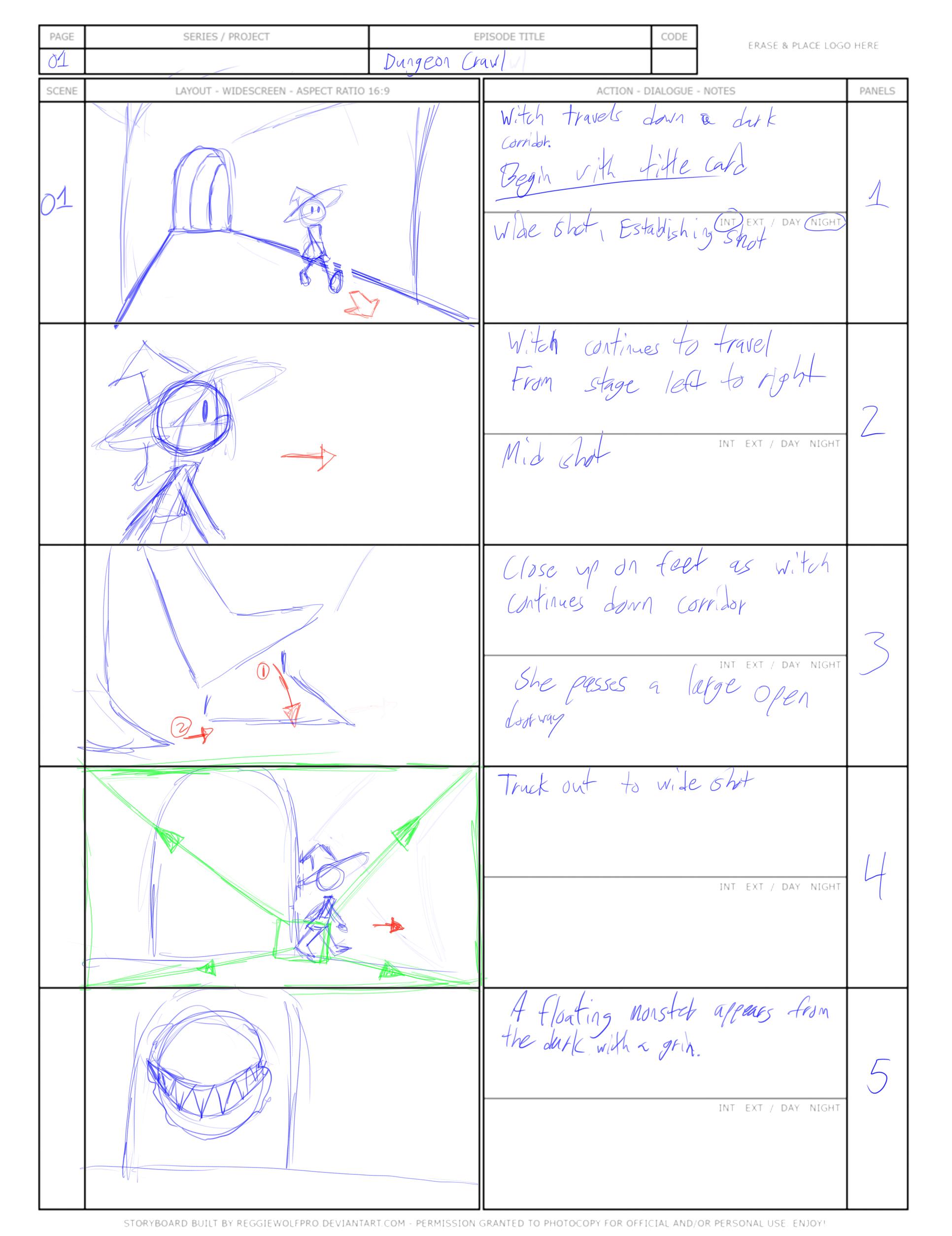 """Dungeon Crawl"" Storyboard 1"