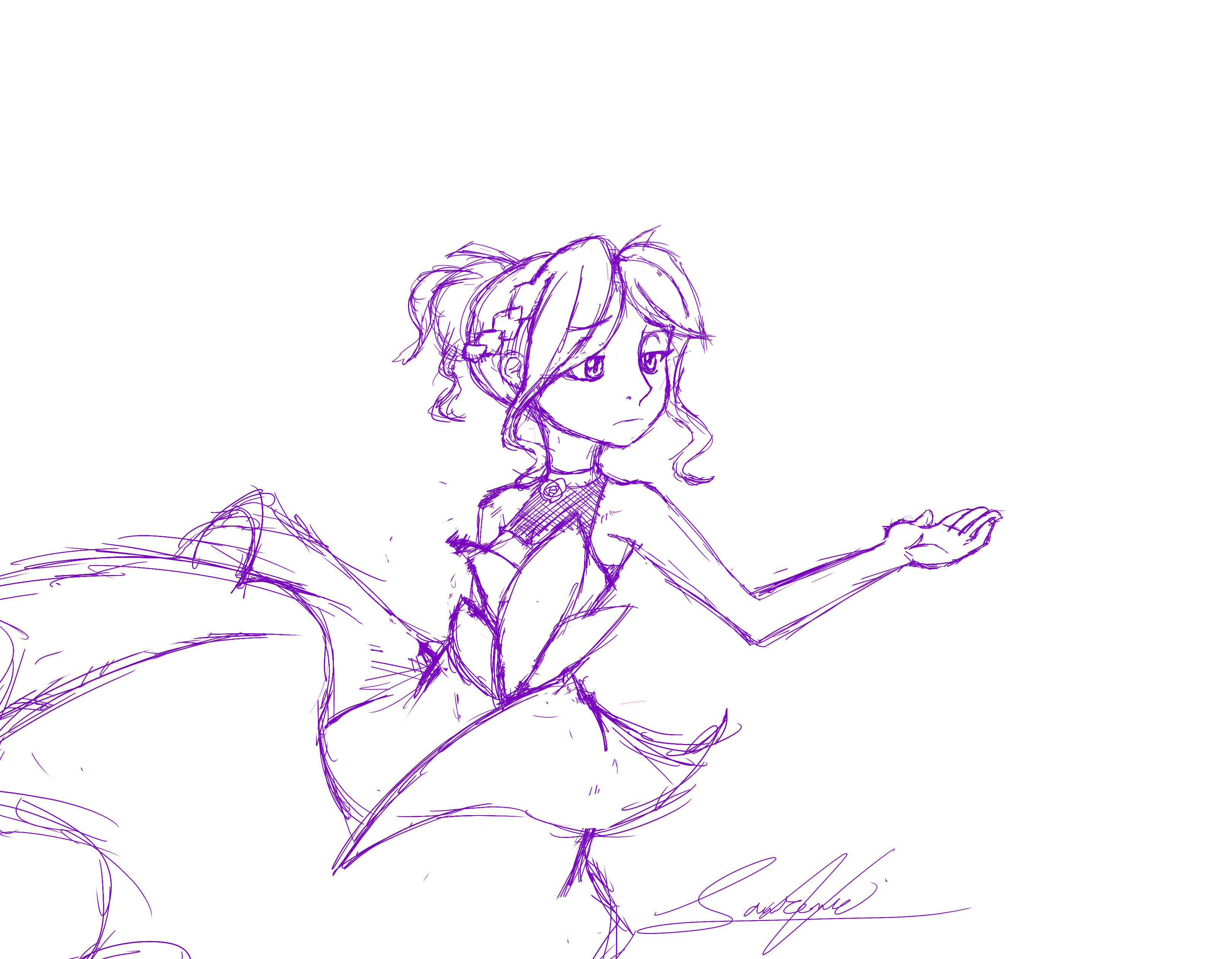 Girl in Dress Sketch