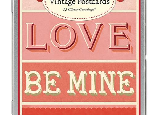 Vintage Valentines Postcards Script