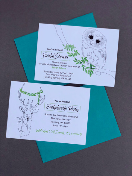 Whimsical Camp Surprise Bachelorette Party & Bridal Shower Invitations