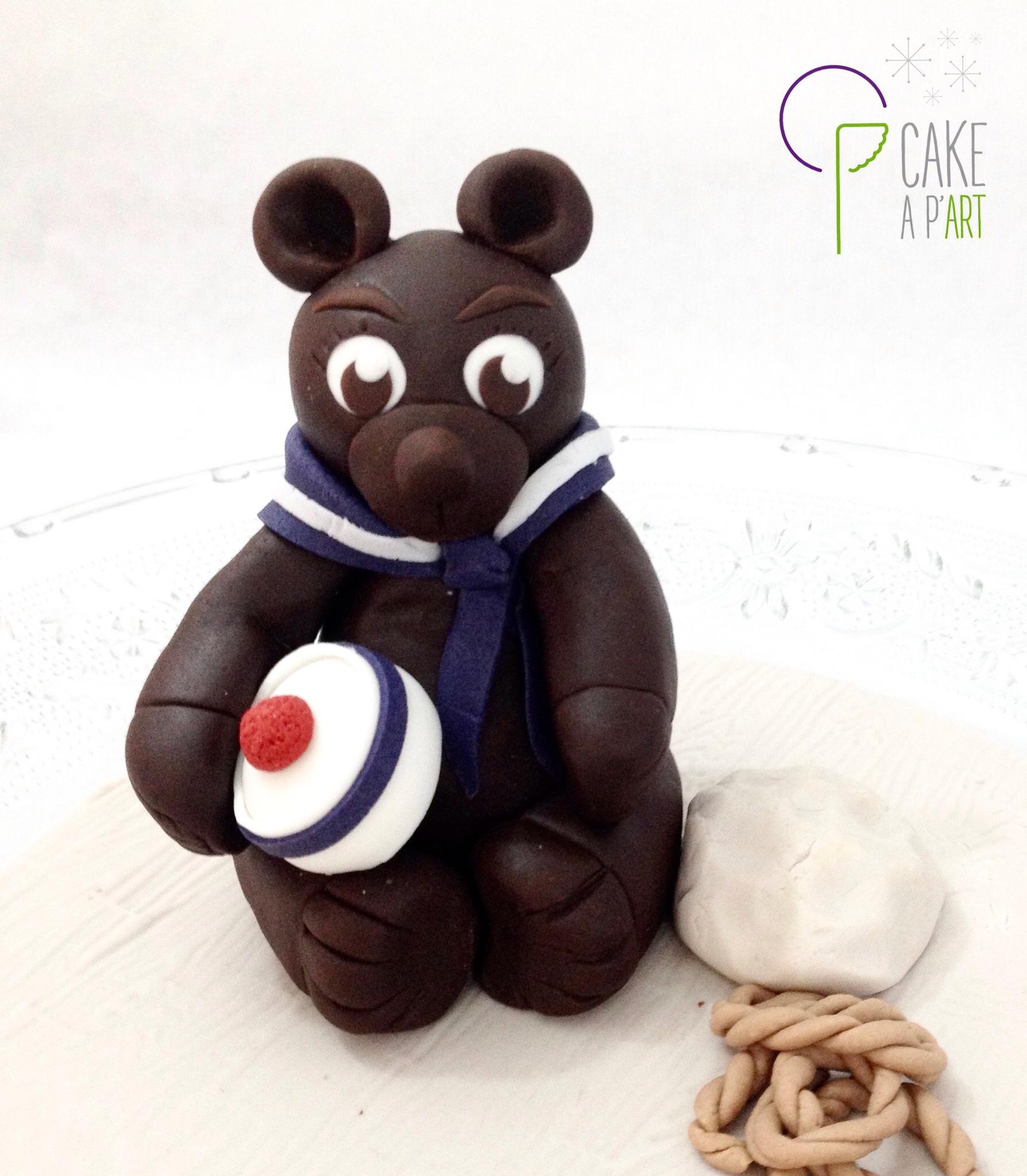 Décor modelage en sucre gâteaux personnalisés - Anniversaire Thème Ourson chocolat
