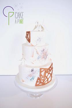 Wedding Cake Pièce montée Mariage - Thème Graphique Origami et Cuivre