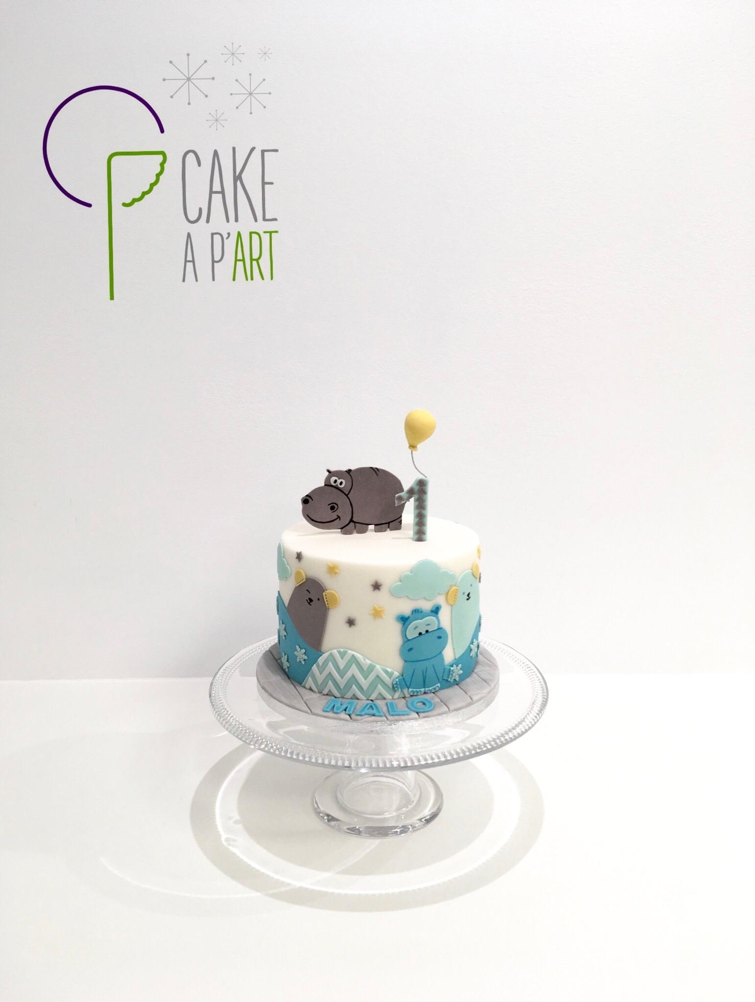 - Gâteau personnalisé anniversaire enfant - Thème Hippopotame