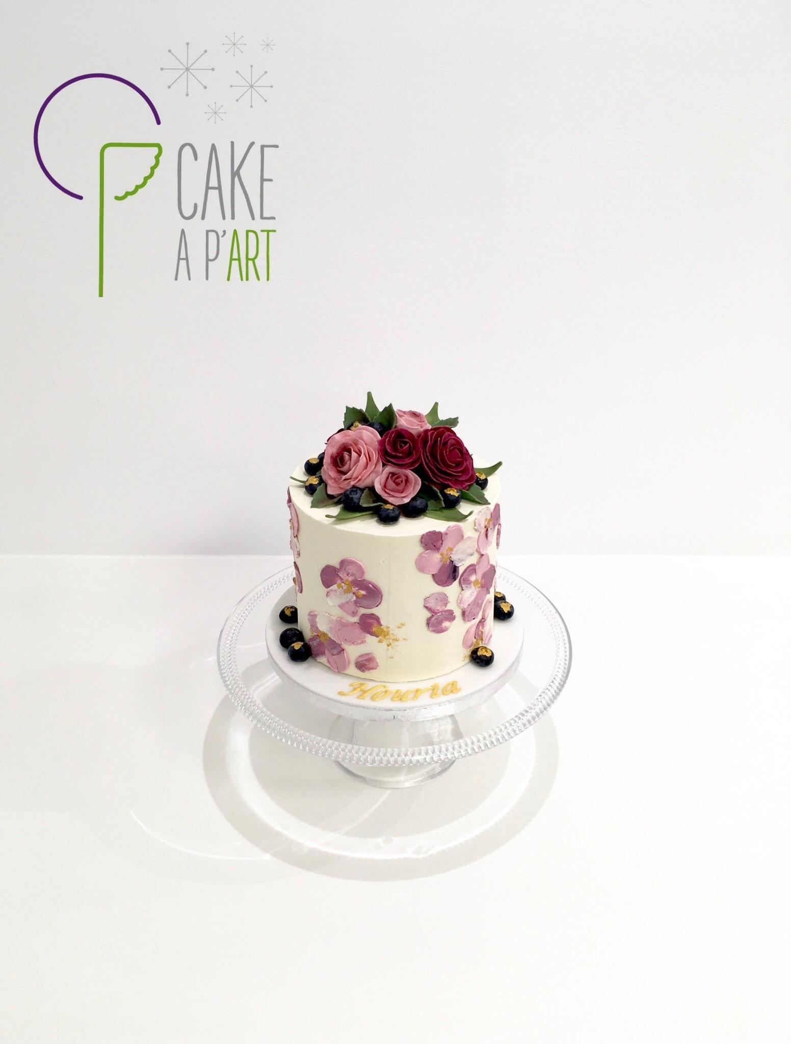 Gâteau personnalisé anniversaire - Nude Cake Floral Bouquet de roses Myrtilles