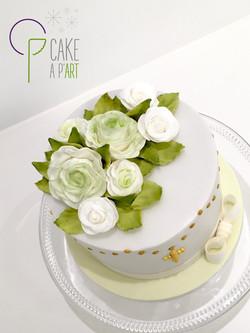 Décor en sucre gâteaux personnalisés - Baptême Fleurs Bouquet de roses et feuillage