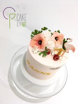 Décor en sucre gâteaux personnalisés - Anniversaire Exotique Fleurs Coquelicots Roses