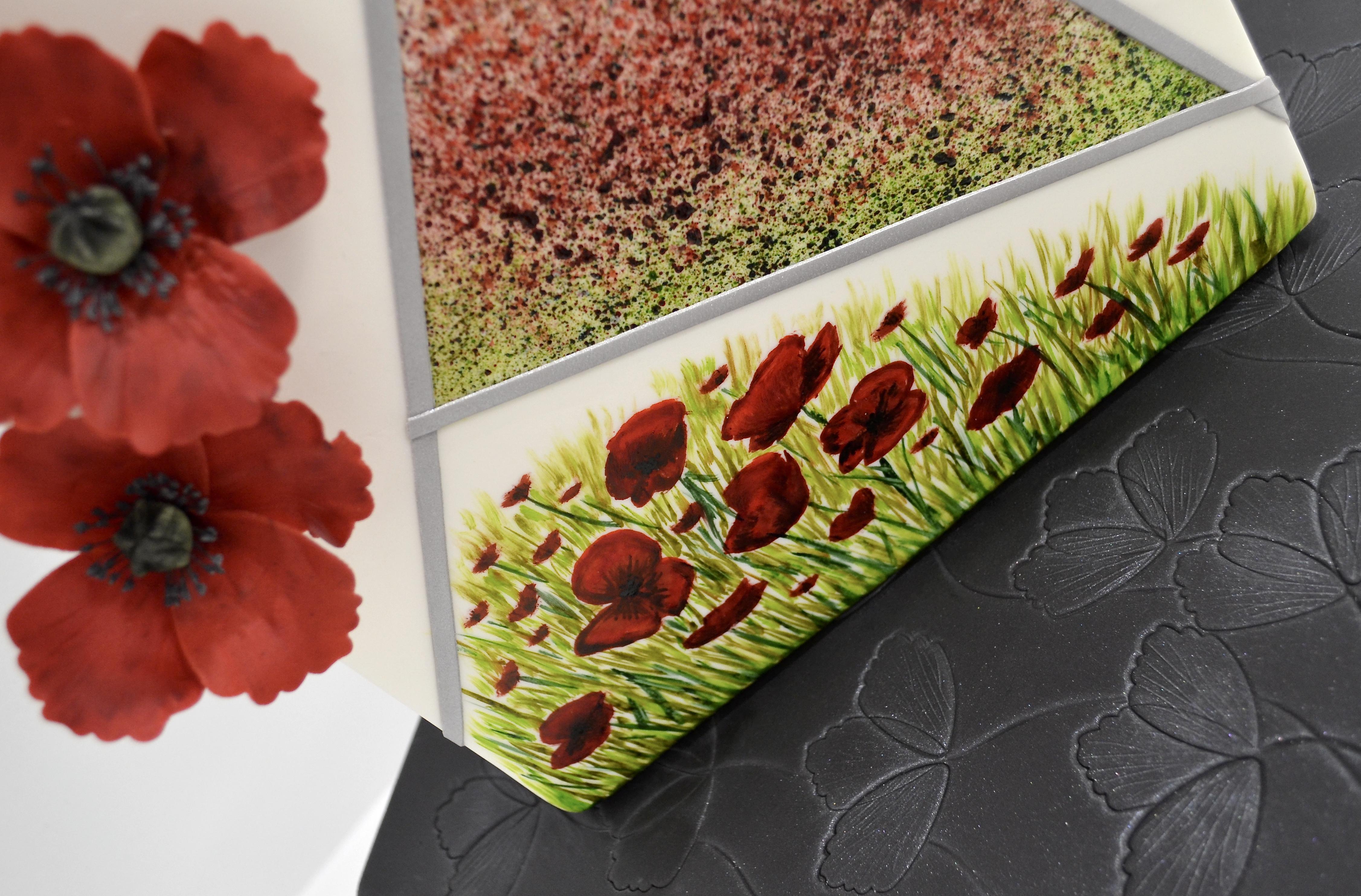 Décor en sucre gâteaux personnalisés - Mariage fleurs Coquelicots rouges