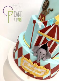 Décor modelage en sucre gâteaux personnalisés - Anniversaire Thème Cirque Eléphant
