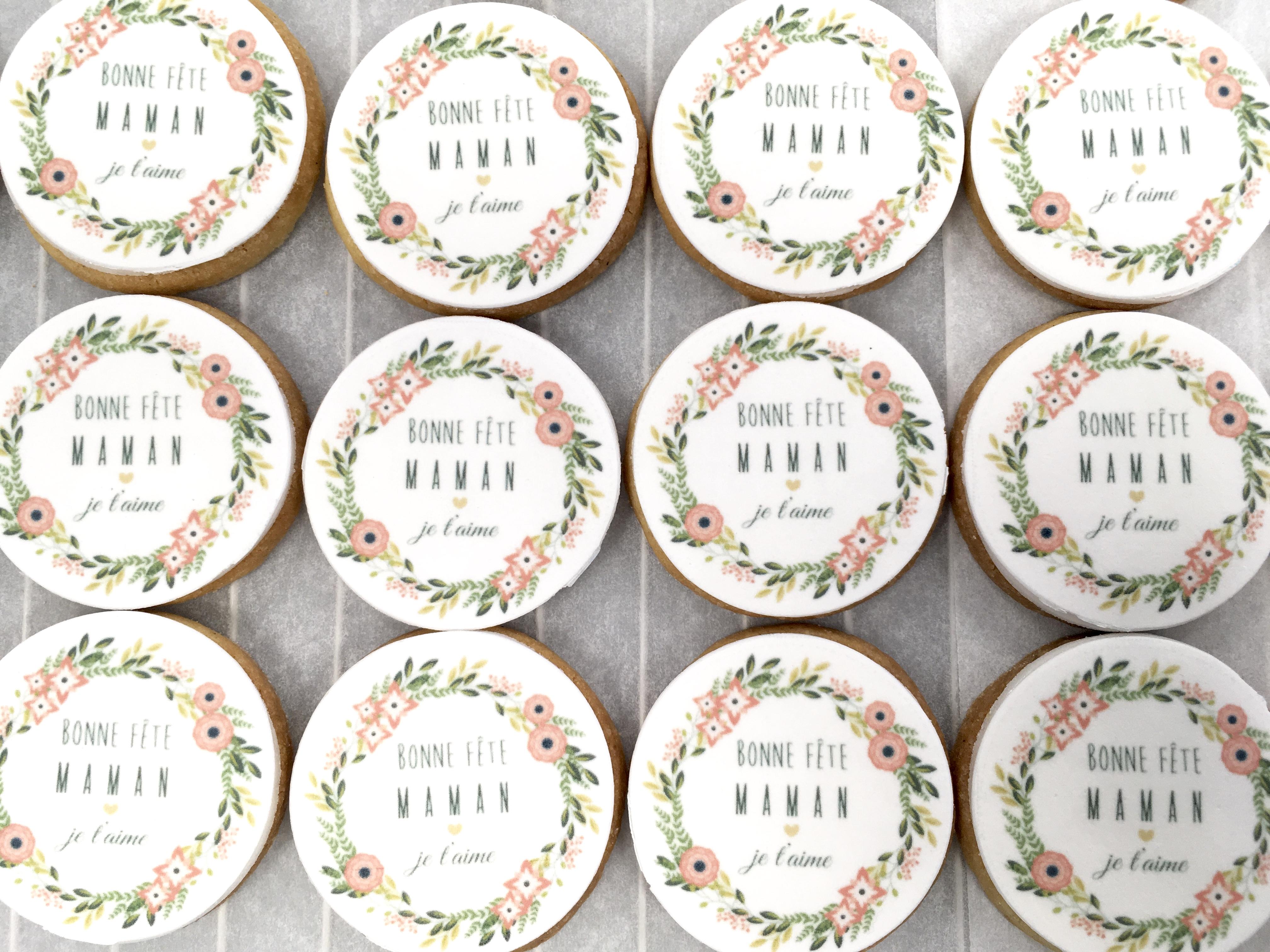 Gâteaux individuels personnalisés - Sablés décorés Fête des mères Floral Impression alimentaire