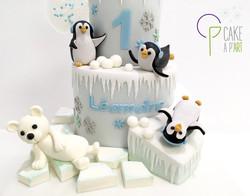 Décor modelage en sucre gâteaux personnalisés - Anniversaire Thème Banquise pingouins et ours
