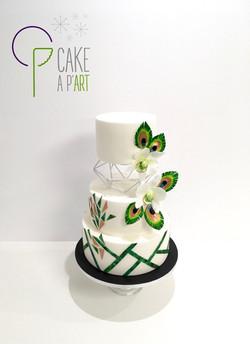 Wedding Cake Pièce montée Mariage - Thème Art déco graphique Plumes de paon