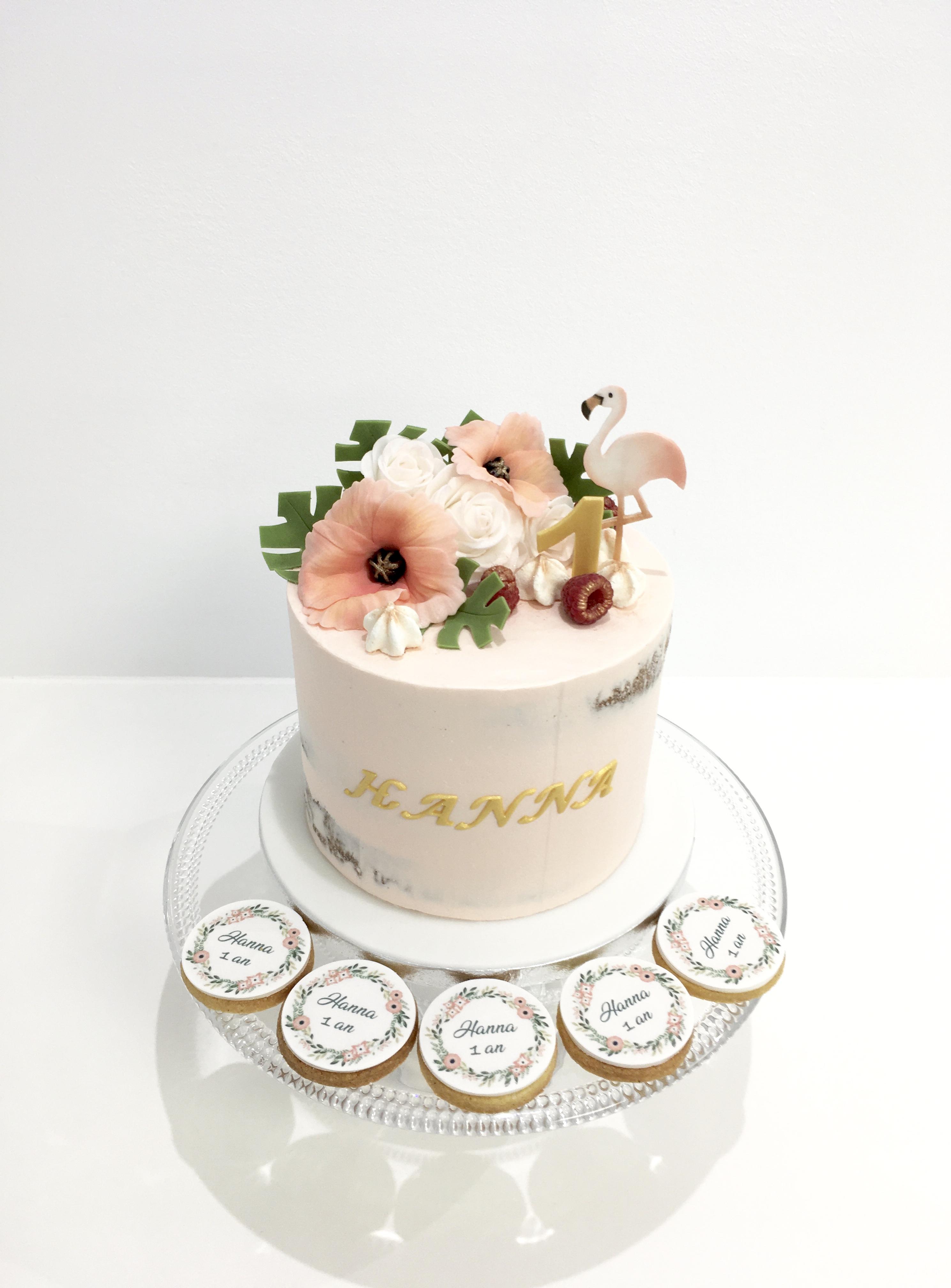 Gâteaux individuels personnalisés Anniversaire - Sablés décorés Thème Floral Exotique Pastel