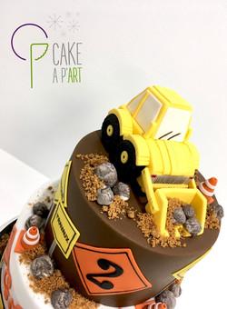 Décor modelage en sucre gâteaux personnalisés - Anniversaire Thème Chantier tractopelle