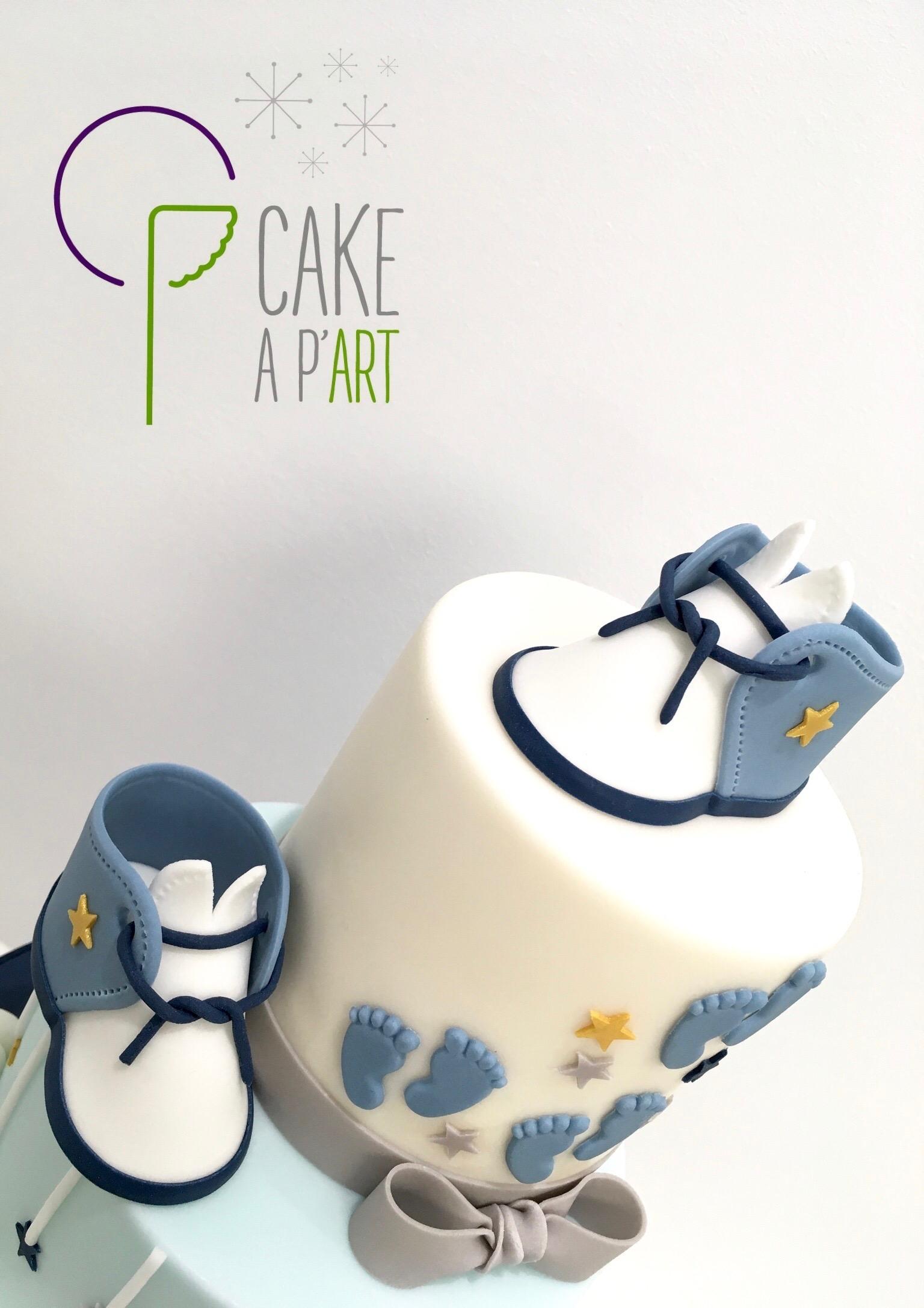 Décor modelage en sucre gâteaux personnalisés - Baptême Thème Naissance chaussons de bébé