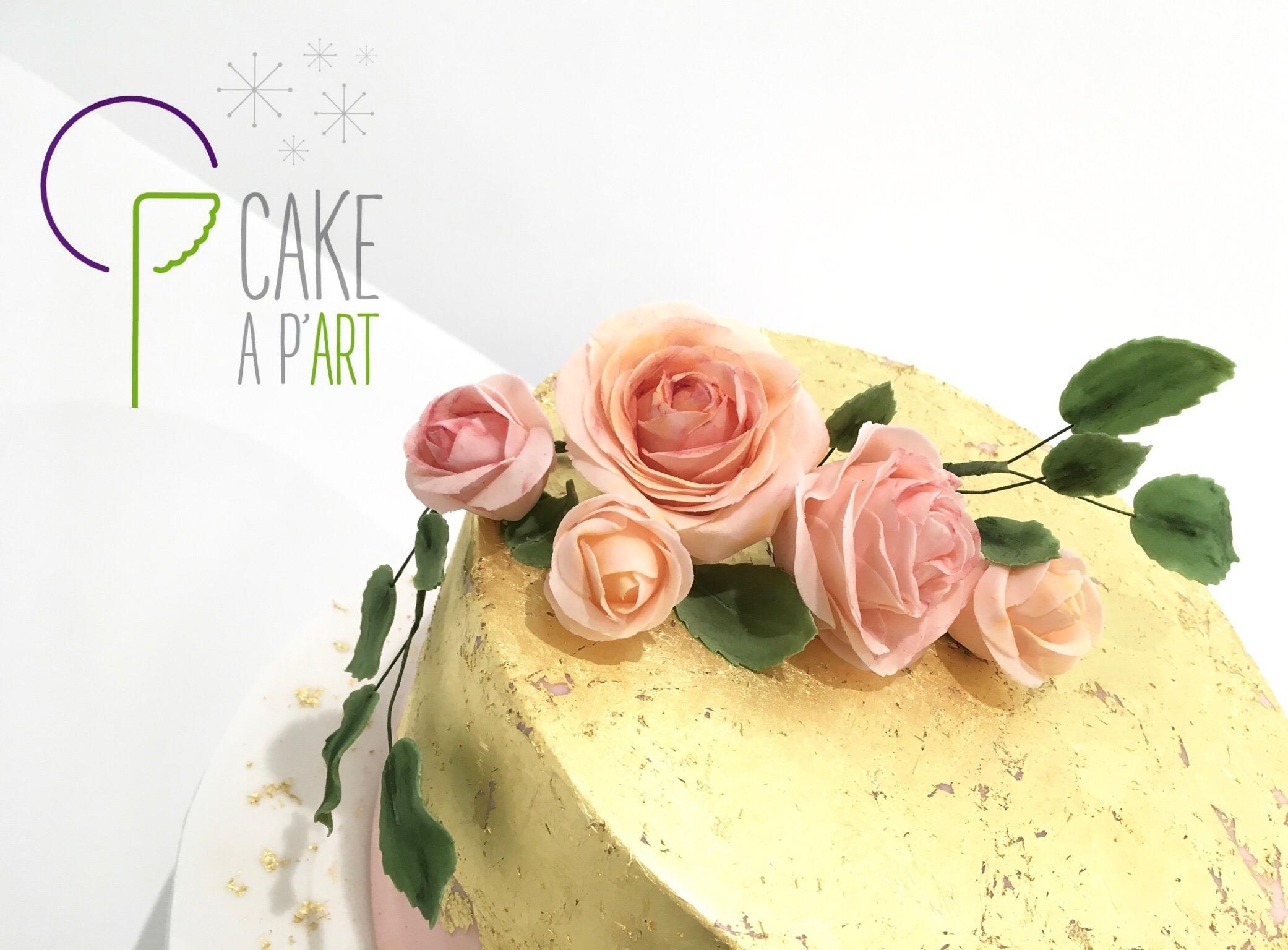 Décor en sucre gâteaux personnalisés - Mariage fleurs Roses pastels