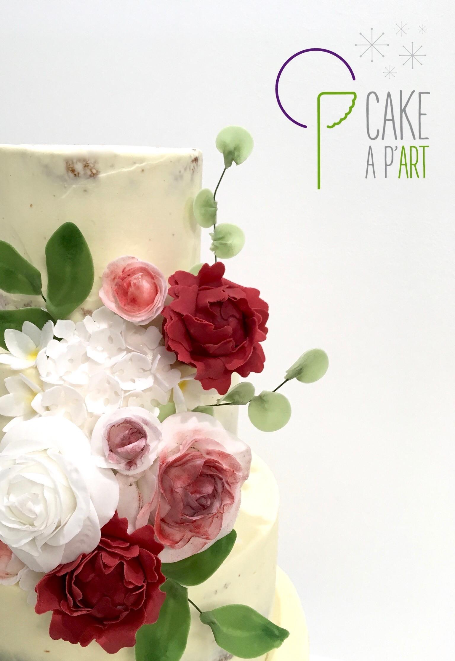 Décor en sucre gâteaux personnalisés - Nude Cake Mariage fleurs Roses hortensias