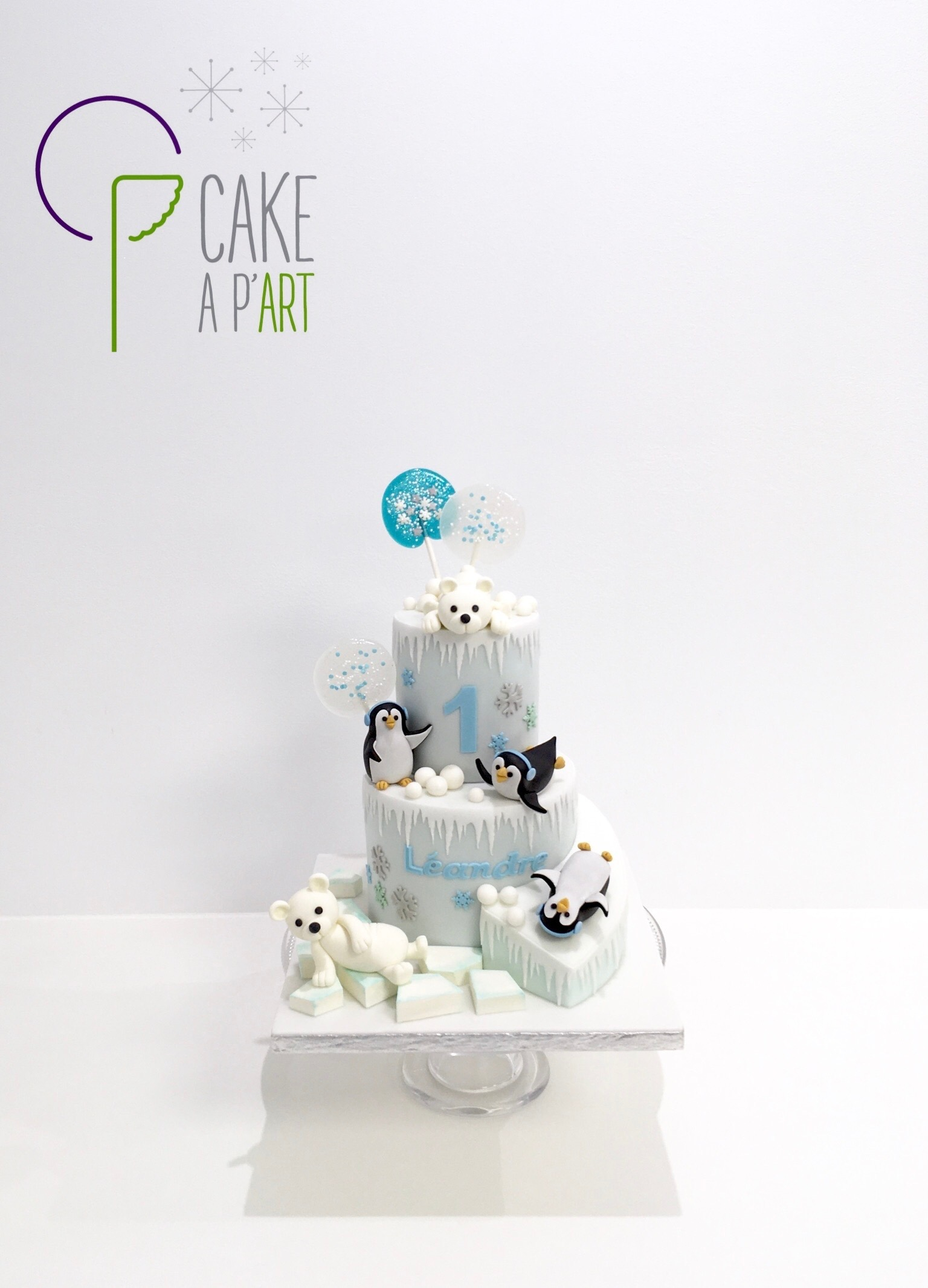 - Gâteau personnalisé anniversaire enfant - Thème Banquise pingouins ours
