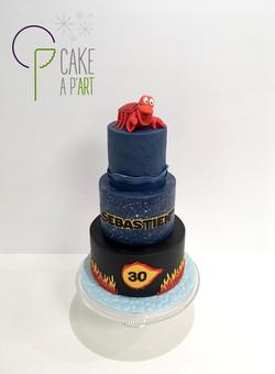 Gâteau sur mesure anniversaire adulte - Thème Petite sirène Star Wars et Dragon Ball Z