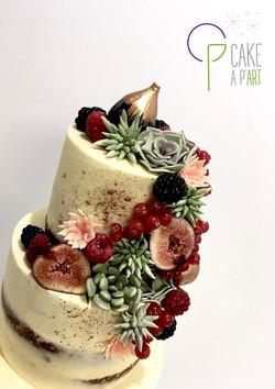 Décor en sucre gâteaux personnalisés - Nude Cake Mariage Plantes grasses et fruits rouges