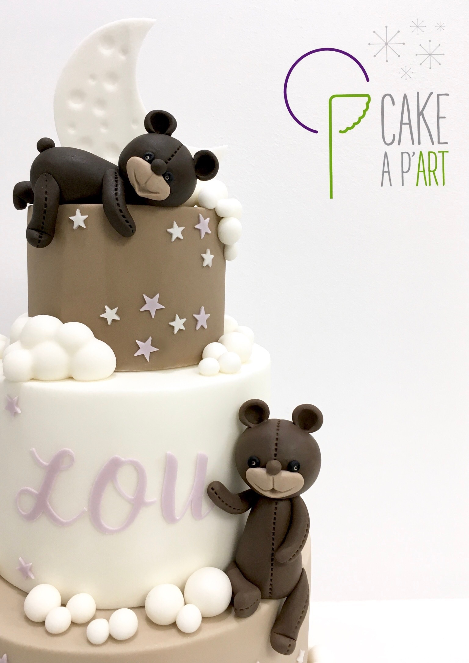 - Gâteau personnalisé baptême enfant - Thème Oursons nuages
