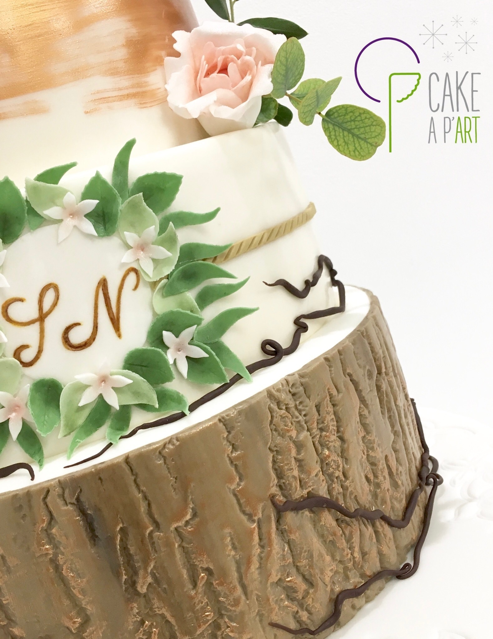 Décor en sucre gâteaux personnalisés - Mariage fleurs et feuillage