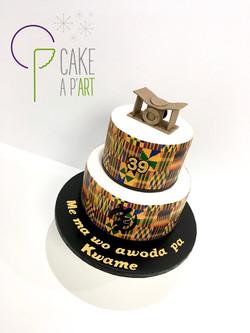 """Gâteau sur mesure anniversaire adulte - Thème Afrique tissu """"kente"""""""