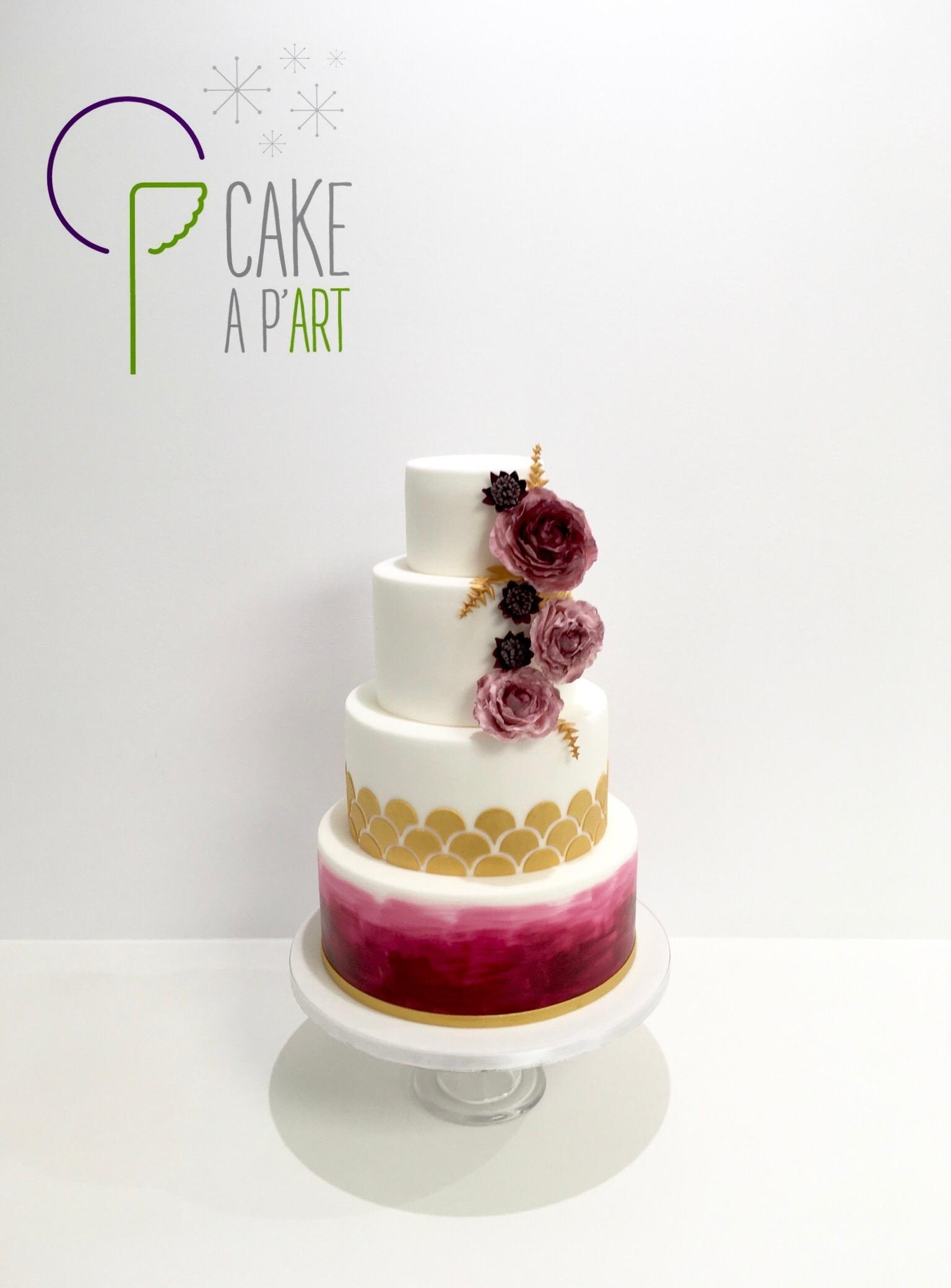 Wedding Cake Thème Bordeaux et Or